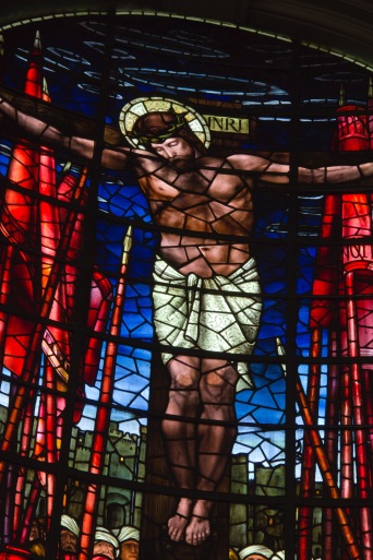 Close up of Edward Burne-Jones' window in St. Philips' Cathedral, Birmingham; showing the death of Jesus.