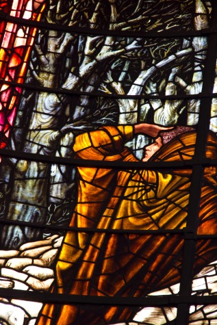 Close up of Edward Burne-Jones' window in St. Philips' Cathedral, Birmingham; showing the gatherings at the birth of Jesus.