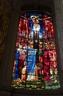 Full length picture of Edward Burne-Jones' window in St. Philips' Cathedral, Birmingham; showing the death of Jesus.