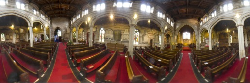 Panoramic view of the chancel in Edgbaston Old Church.