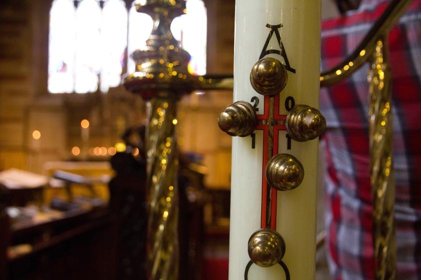 Edgbaston Old Church, church, Christianity, church interiors, church fittings, cross, candle