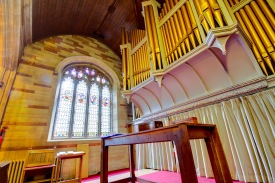 The organ at Edgbaston Old Church. Organ music and hymns play an important part in Church of England services, they give the service structure and are one of the key ways in which members of the congregation participate.