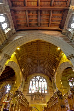 Looking up towards the altar at Edgbaston Old Church.