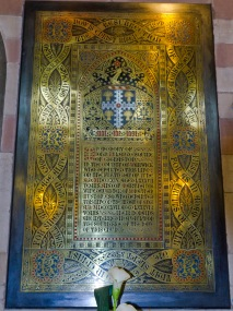 Memorial to a local notable in Edgbaston Old Church. The dead man's coat of arms recalls elements of the arms of the city of Birmingham.