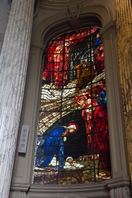 Full length picture of Edward Burne-Jones' window in St. Philips' Cathedral, Birmingham; showing the gatherings at the birth of Jesus.