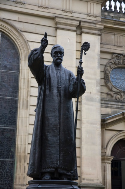Close up of the memorial statue to Charles Gore the first Bishop of Birmingham