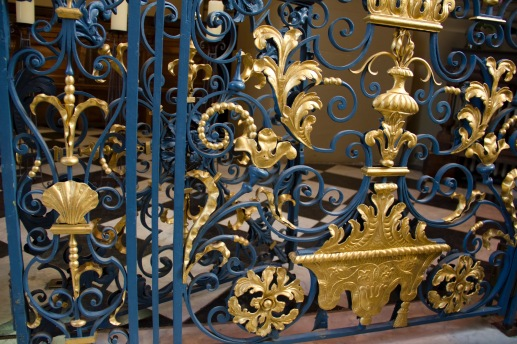 Some of the intricate detail on the painted ironwork at St. Philips' Cathedral, Birmingham.