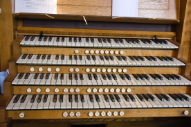 This is the console that the organist uses to play the organ at St. Philips' Cathedral, Birmingham.