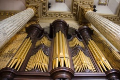 These pipes form part of the very big, highly decorated, organ at St. Philips' Cathedral, Birmingham.