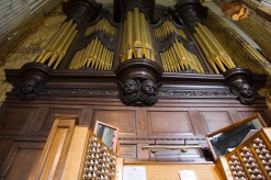These pipes and the console form part of the very big, highly decorated, organ at St. Philips' Cathedral, Birmingham.