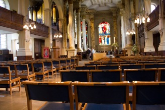 The view down the chancel towards the altar at St. Philips' Cathedral, Birmingham.
