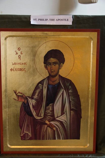 This small Greek Orthodox style icon sits near the altar at St. Philip's Cathedral Birmingham. It is a Bytantine style depiction of Saint Philip after whom the Cathedral is named. Its presence signifies a relationship and interplay with another Christian denomination, largely located in a different part of the world.