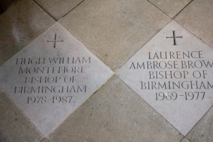Plaques commenorating the tenures of past Bishops of Birmingham in St. Philips' Cathedral, Birmingham.