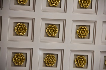 These embossed roses are on the ceiling of St. Philip's Cathedral, Birmingham.