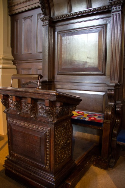 "The Bishop of Birmingham's seat at St. Philips' Cathedral, Birmingham. This important chair has a connection to the meaning of the word ""cathedral"" itself. The Latin for throne is ""cathedra"", bishops are described as being ""ex cathedra"" (trans. ""on the throne""). As such the bishop's chair itself has great importance within the branches of Christianity-like Anglicanism-which have bishops."