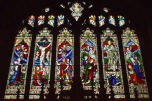 Stained glass window over the altar at Edgbaston Old Church.