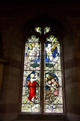 Jesus calms the seas. Stained glass window at Edgbaston Old Church.