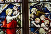 Jesus calms the seas, detail from a stained glass window at Edgbaston Old Church.