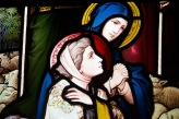 Detail of women in a larger stained glass window at Edgbaston Old Church.