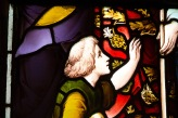 Detail of a child in a larger stained glass window at Edgbaston Old Church.