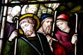 Details of Sheppard in a large stained glass window at Edgbaston Old Church.