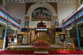 Facing the altar inside the Ramgarhia Gudwara in Birmingham.