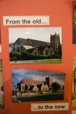 This display in the church was put together by the parishioners of St. John's Church, Ladywood, to illustrate the process through which their church was modernised.
