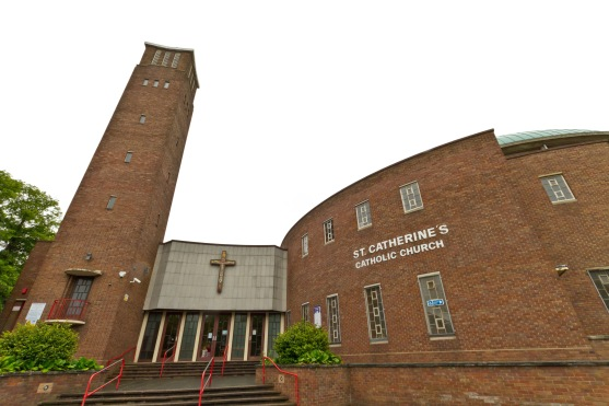 Catherine of Sienna Roman Catholic church, central Birmingham. Built in the 1960s in a modern, inclusive style it nonetheless harks back to ancient churches in the Mediterranean world at the same time.