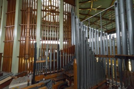 The organ at The organ pipes at the Catherine of Sienna Roman Catholic church, central Birmingham. Whilst singing is less important in Roman Catholicism than in some other Christian denominations, the organ and musical interludes still play a very important part in the structure and running of services.