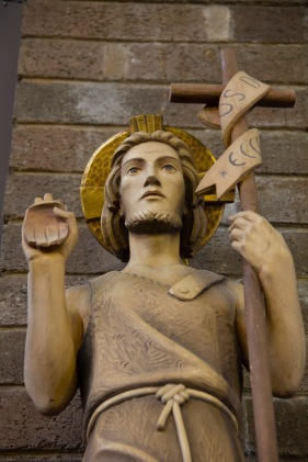 Close up of the Shepard statue in the Catherine of Sienna Roman Catholic church, central Birmingham.