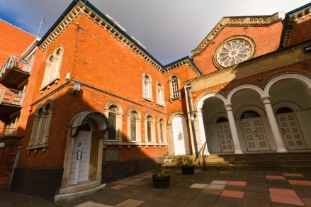 External picture showing the entrance to the Singers Hill synagogue in central Birmingham.
