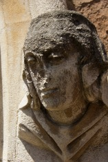 The carved-and now quite weathered-face of the church's namesake, St. John, decorates the exterior of St. John's Church, Ladywood.