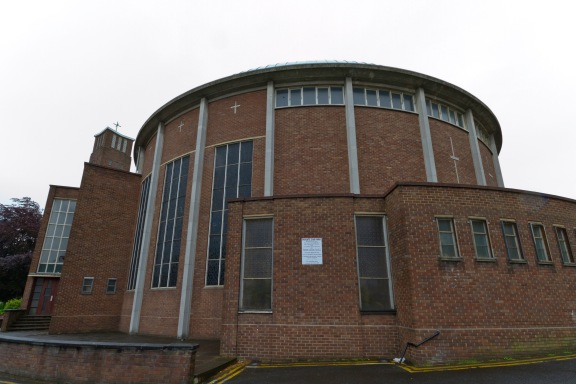 The basilica of the Catherine of Sienna Roman Catholic church, central Birmingham. Built in the 1960s in a modern, inclusive style it nonetheless harks back to ancient churches in the Mediterranean world at the same time.