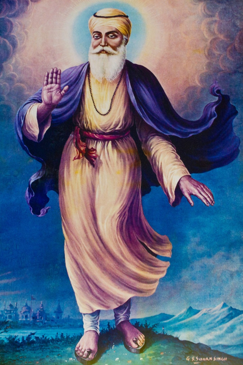 Guru Nanak the founder of Sikhism. He remains a vital source of inspiration for Sikh's today. This painting of him is on a Gudwara wall.
