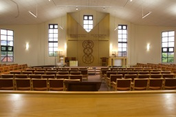View towards the sanctuary from the back of a reformed synagogue.