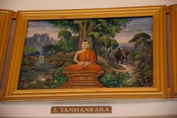 Painting of the Buddha Tanhankara on the wall of the Ladywood Pagoda to inspire believers.