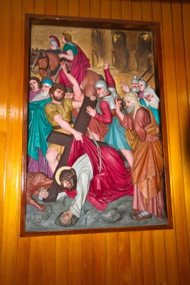 Modern Painted images showing Jesus' progress to Calvary (where he was executed). They are found on the walls of the St. Catherine of Sienna Church in Birmingham.