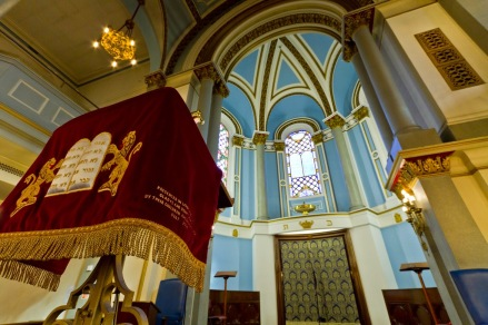 Richly embroidered lectern cloth-bearing the ten commandments in Hebrew-standing in the sanctuary of the Singers Hill synagogue Birmingham.
