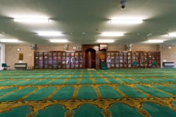 View from the centre of the prayer hall at Birmingham Central Mosque towards the prayer leader's seat.