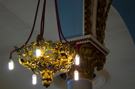 Ornate light fitting, modernised with gas lamps replaced by electric, in Singers Hill synagogue Birmingham.