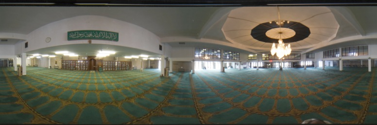 Panormaic picture whowing the entireity of the prayer hall in Birmingham Central Mosque