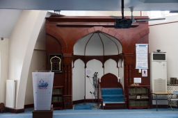 Prayer leader's seat and lecturn in Green Lane Mosque, Birmingham
