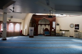 Prayer hall and prayer leader's seat in Green Lane Mosque, Birmingham