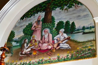 A group of significant Gurus (spiritual leaders), including Guru Nanak the founder Sikhism. It is painted on the Gudwara wall.