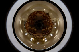 A fisheye lens shot image showing the entire seating plan of a Reformed Synagogue.