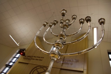"The Menorah (its name translates simply as ""lamp"") is a religious candle holder used during the festival of Hanukkah. A new candle is lit every day throughout the holiday."