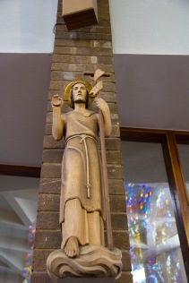 """A traditional statue of a Shepard representing the place of the church and Jesus in """"shepherding"""" God's people towards him. It is found in St. Catherine of Sienna Roman Catholic church, central Birmingham."""