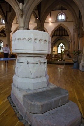 An old stone font used in baptisms at St. John's Church, Ladywood.