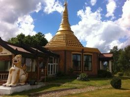 Exterior shot showing the golden dome of Ladywood Pagoda.