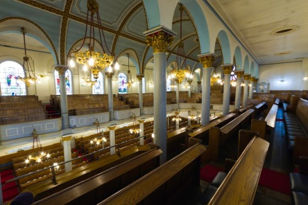 Looking down from the upstairs (women's) seating in the Singers Hill Synagogue, Birmingham.